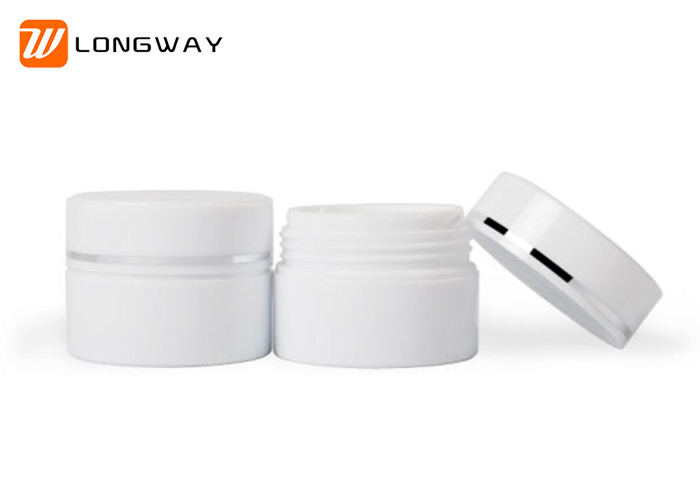 White Plastic Double Deck Cosmetic Sample Jars / Small Cream Jars 15g 30g