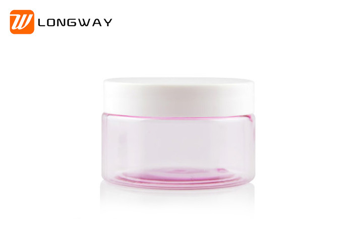 Plastic PET Cream Jar Pink Clear 20g with White Cap for Cosmetic Packaging