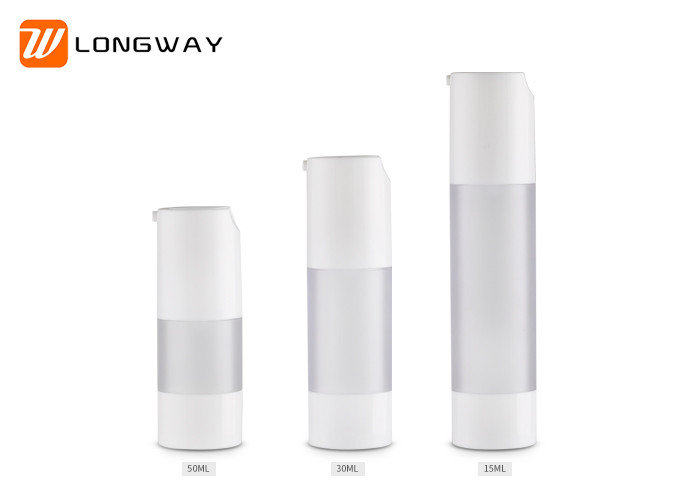 Frosted Clear Plastic Airless Pump Bottles For Travel Emulsion Packaging