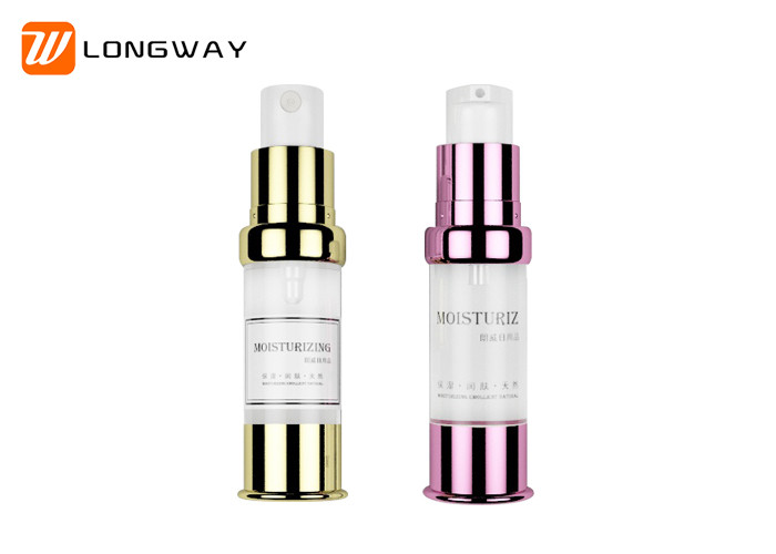 UV Finish Plastic Airless Pump Bottles For Cosmetic Packaging Shoulder Design